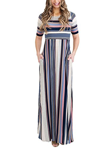 Bdcoco Women's Short Sleeve Striped Loose Casual High Waist Maxi Long Dress Blue X-Large