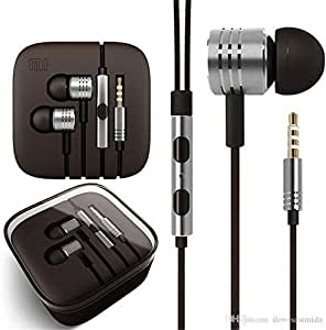 MAELINE Earphones Headphones, Powerful Bass Driven Sound, Large Drivers, Ergonomic Design with Remote Control and Microphone (Silver)