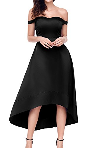 AlvaQ Women Juniors Sexy High Waisted Off Shoulder High Low Homecoming Cocktail Club Midi Dresses Party Black