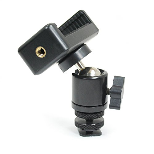 Livestream Gear - Locking Ball Head with Phone Holder and Hot Shoe Adapter Set for use with DLSR or Tripod. Easily Attach Phone Mount w/Ball Head, or Other 1/4
