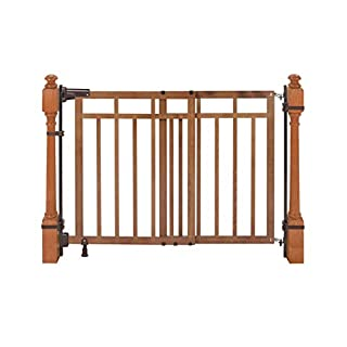 """Summer Banister and Stair, Top of Stairs Baby Gate with Dual Installation Kit, Honey Oak Wood Finish – 33"""" Tall, Fits Openings up to 32"""" to 48"""" Wide, Baby and Pet Gate for Doorways and Stairways"""