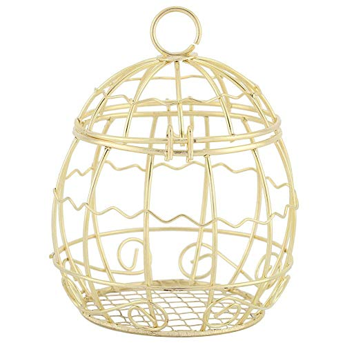 AUNMAS 1 PCS Candy Box Golden Metal Bird Cage Shaped Decorative Chocolate Boxes Favor Sugar Container Wedding Banquet Party Decoration Christmas Accessories (Party Favor Bird Cages)