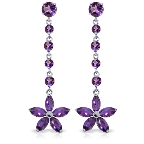 14k White Gold Flower Dangle Earrings with Amethysts (Flower Amethyst 14k)