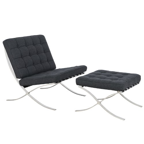 LeisureMod Bellefonte Style Modern Pavilion Chair and Ottoman, Single, Dark Grey Wool