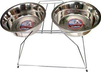 Loving Pets DLV7223 Stainless Steel High Tall Raised Dog Double Diner, 5-Quart, My Pet Supplies