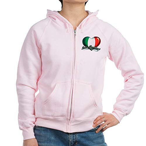 (Royal Lion Women's Zip Hoodie Italian Sweetheart Italy Flag - Pale Pink, 2X)