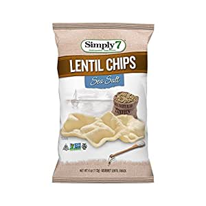 Simply7 Gluten Free Lentil Chips, Sea Salt, 4 Ounce (Pack of 12)