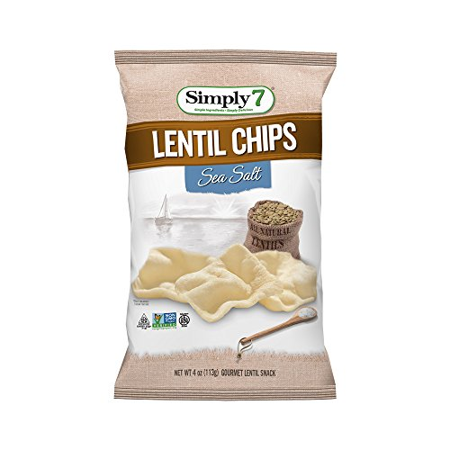 Simply7 Lentil Chips, Sea Salt, 4 Ounce (Pack of 12)