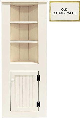 Tall Corner Cabinet (Old - Cottage White) - Old Wood Furniture