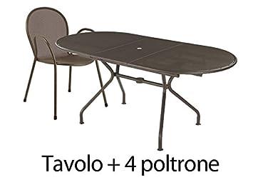 Amazon.de: EMU Gartenset Braun Tisch oval ausziehbar 140/180 ...