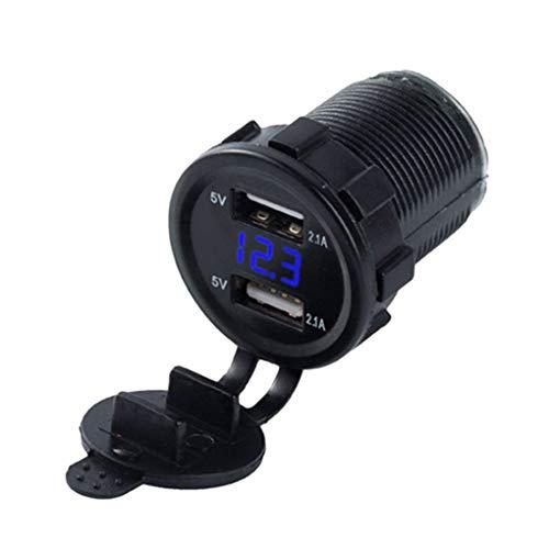 Tralntion Universal Dual USB Car Charger Voltage Digital Display Car Cigarette Lighter Replacement for 12V/24V Car Motorcycle