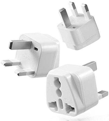 Universal Adapter Type G, Fosmon [CE Certified] USA to UK HongKong International Travel Power Adapter Grounded Wall Converter - White (3 PCS)