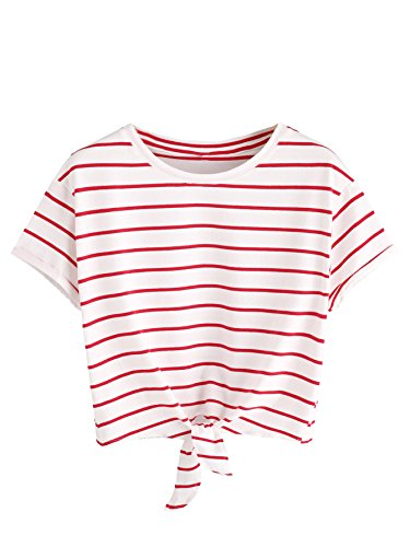 ROMWE Women's Knot Front Cuffed Sleeve Striped Crop Top Tee T-shirt ,White & Red,X-Large(US 12-14)