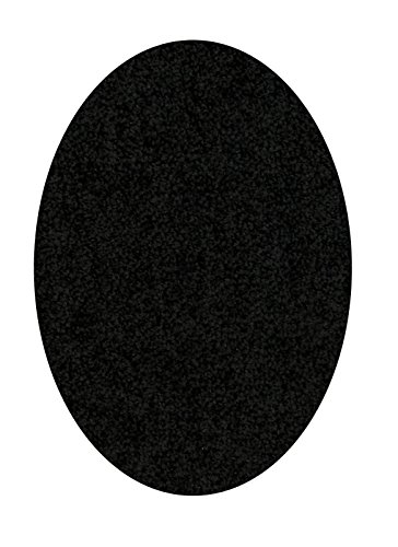 Bright House Solid Color Area Rug, Oval, 5' W x 7' L, (Black Oval Rug)