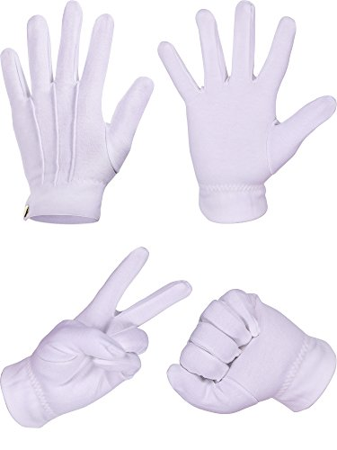 Hestya White Stitched Cotton Gloves for Formal Tuxedo Jewelry Inspection, 2 Pairs -