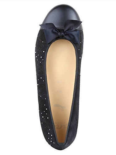 ara Damen Ballerina mit Schöner Perlenapplikation Dunkelblau