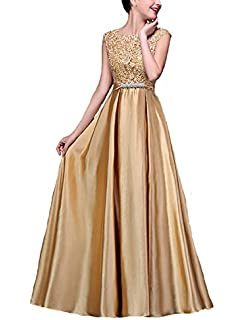Elleybuy Womens O Neck A-Line Prom Dresses 2018 Long Evening Gown Dress