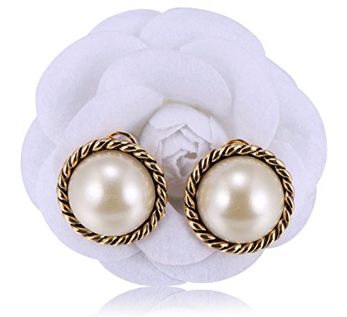 MISASHA Big Immitation Pearl Classic Round Shape Earrings - Sunglasses Chanel Men