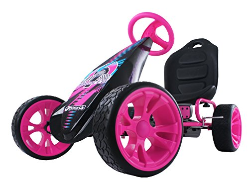 (Hauck Sirocco - Racing Go Kart | Pedal Car | Low profile rubber tires | Pedal power auto-clutch free-ride | Adjustable seat  - Pink)