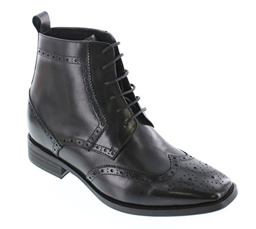 Calto T66930-2.6 Inches Taller - Height Increasing Elevator Shoes - Black Lace-up Boots