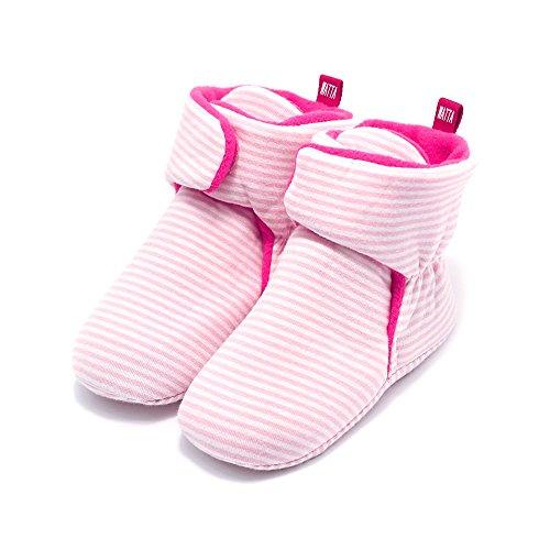 WATTA Baby Hi-Top Warm Up Fleece Lined First Pram Shoes Baby Booties - Image 1