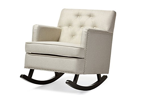 Contemporary Rocking Chair in Light Beige Fabric