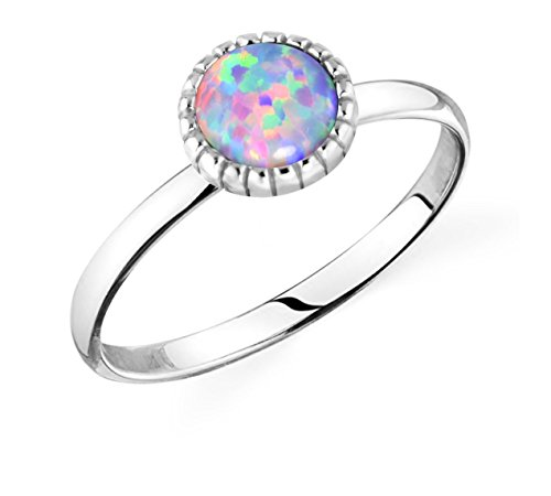 .925 Sterling Silver Synthetic Opal Knuckle Ring, Lavender Fields -