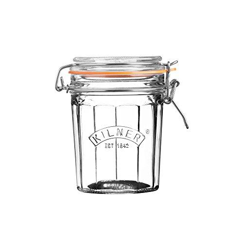 Kilner Glassware Facetted Clip Top Jar, 15-Fluid Ounces