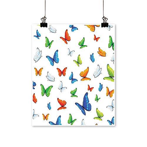 Canvas paintingButterflies Animal Clipart Ecology Environment Joyful Design Cartoon Tropics Artwork for Living Room Decorations,12