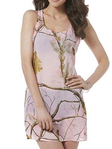 Realtree Womens Pink Semi-Sheer Camo Swim Suit Cover Up Camouflage Dress Small