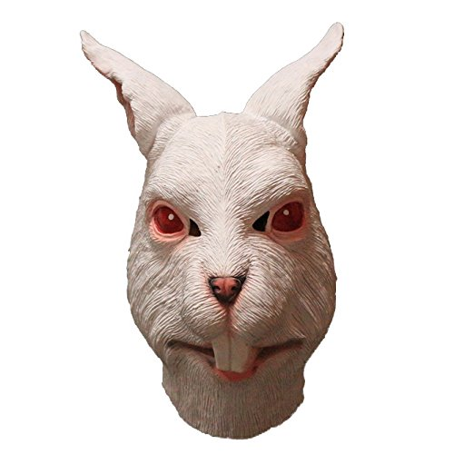 COMLZD® White Rabbit Latex Full Overhead Animal Mask Halloween Party Costume (Rabbit Head Mask)