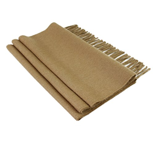 Woven 100 % Pure Baby Alpaca Wool Scarf Unisex - Dye Free Natural Colors (Camel)