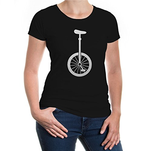 Girlie T-Shirt Unicycle-Silhouette Black