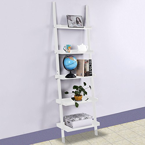 Tangkula 5-Tier Ladder Book Shelf Leaning Wall Shelf