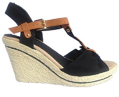 Femmes Sandales talon compensées escarpins bout ouvert femme chaussure 157-61 NOIR