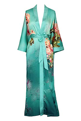Old Shanghai Women's Kimono Robe Long - Watercolor Floral, Coral Chrysanthemum- Meadow Blue, One Size.