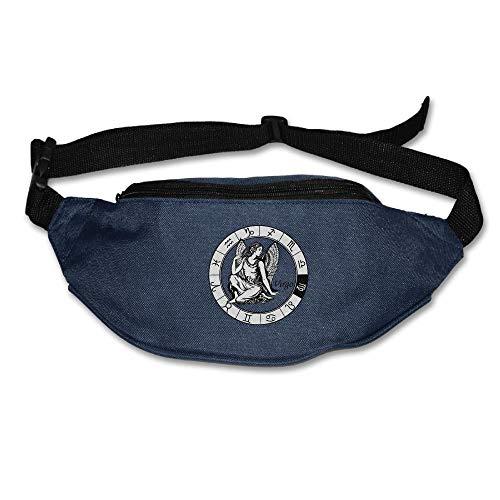 JIESENGTOO Alone Waist Bag Fanny Pack Virgo Black Logo Unisex Outdoor Sports Pouch Running Belt Fitness Travel Pocket Navy-One Size
