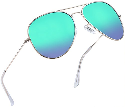 (Joopin Classic Polarized Sunglasses for Men - Metal Frame Mirrored Lens Womens Sunglasses E3026 (Green Blue))