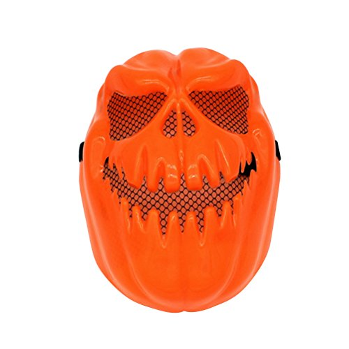 Tinksky Creepy Pumpkin Mask Halloween Decorative Face Mask Terror Ghost Party Full Face Mask Halloween Costumes (Orange) - Make Pumpkin Head Costume
