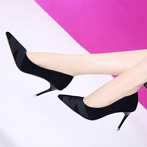 Olici MDRW-Lady Elegant Arbeit Arbeit Arbeit Freizeit Feder Die Nähte TIPP 8 5 cm High-Heeled Schuhe Feine folgten Licht Port Wilde einzelne Schuhe schwarz Einfach die Karriere von Frauen Schuhe 2686d3