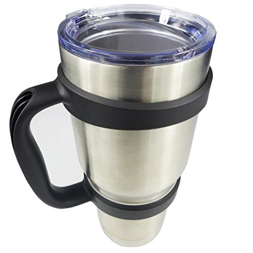 A-store Handle for 30 oz Yeti Rambler Tumbler Cup Mug also fits RTIC Thermik and more Tumblers. BONUS: SECURE TRAVEL CLIP (Black)