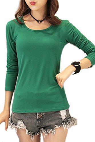Manga larga camiseta ocasional Yacun mujer Darkgreen