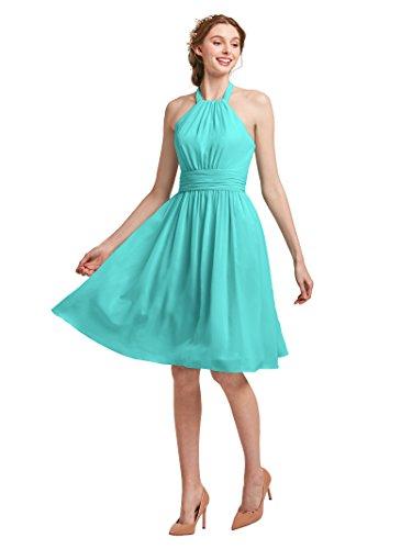 AW Halter Bridesmaid Dress Short Chiffon Prom Formal Dresses for Wedding Guest Women, Tiffany, - Shoes Tiffany Prom