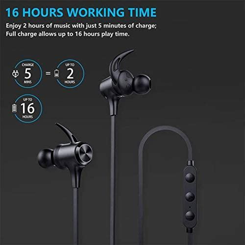 Wireless Headphones, Boltune Bluetooth Headphones with Magnetic Connection, 16 Hrs Work Time IPX7 Waterproof Bluetooth 5.0 Sports Earphones for Running Built-in Mic