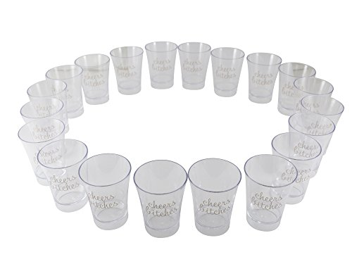 Party Shot Glasses for Bachelorettes and Birthdays, Cheers Bitches 2 oz Plastic Shooters (20 Pack)]()
