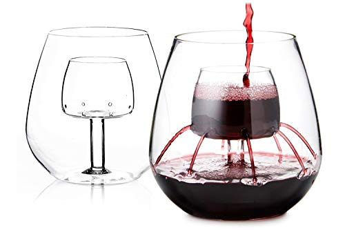 Stemless Aerating Wine Glass by Chevalier Collection (Set of 2) - Patented Wine Glass With Built In Aerator