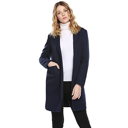 Top Elever Women's Long Sleeve Open Front Long Dust Coat Outwear Coat with Pocket