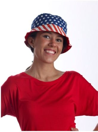 [Forum Fun Patriotic Fourth of July American Flag Bucket Hat Red Blue White] (Usa Flag Dress Teen Costumes)