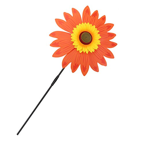 Orange Pinwheel (Pinwheel Windmill Orange Sunflower Wind Spinner Whirligig With Fun Colors and Movement for Garden Lawn Yard Decoration)