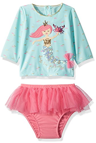 Mud Pie Baby Girls Mermaid Ruffle Rash Guard 2 Piece Swimsuit, Blue, 3T
